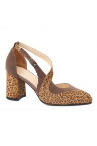 Sandale elegante din piele naturala cu toc gros 5275
