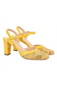 Sandale elegante din piele naturala galbena 5028