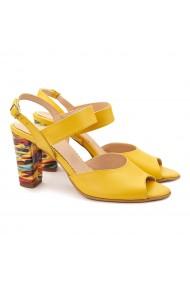 Sandale elegante din piele naturala galbena 5081