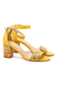 Sandale elegante din piele naturala galbena 5082