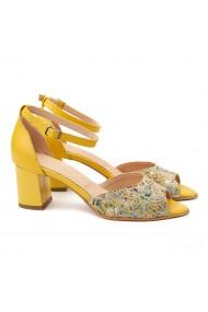 Sandale elegante din piele naturala galbena 5087