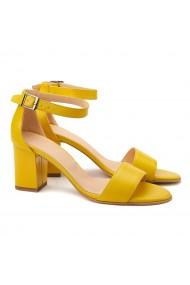 Sandale elegante din piele naturala galbena 5106