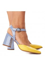 Sandale elegante din piele naturala galbena 5251