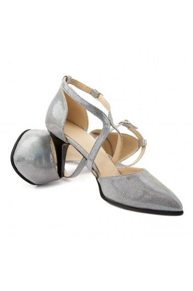 Sandale elegante din piele naturala gri 5105