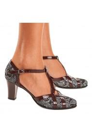 Sandale elegante din piele naturala gri 5206