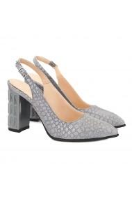 Sandale elegante din piele naturala gri cu toc gros 5048