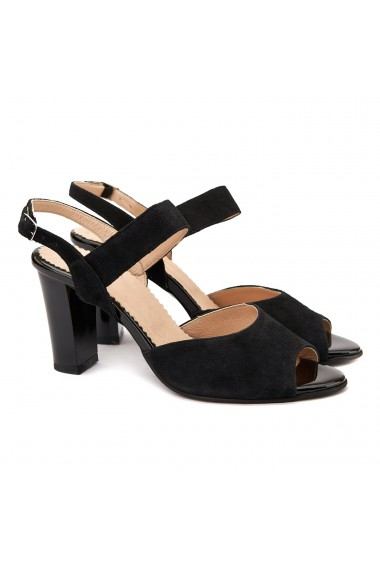 Sandale elegante din piele naturala neagra 5065