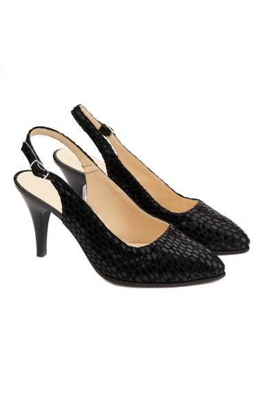 Sandale elegante din piele naturala neagra 5198