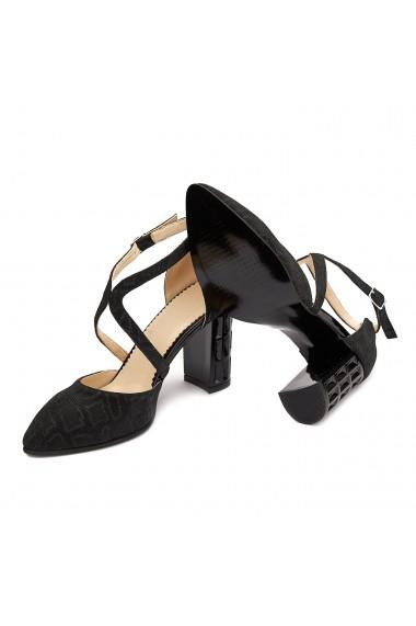 Sandale elegante din piele naturala neagra 5203