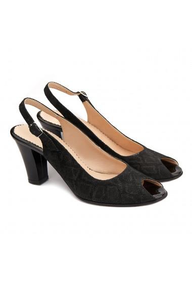 Sandale elegante din piele naturala neagra 5209