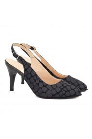 Sandale elegante din piele naturala neagra cu model 5055