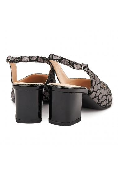Sandale elegante din piele naturala neagra model gri 5059