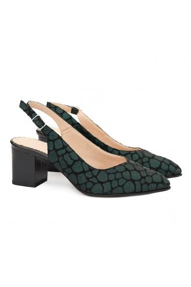 Sandale elegante din piele naturala neagra model verde 5062
