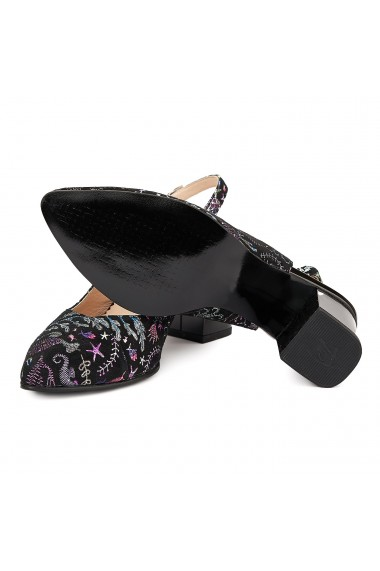 Sandale elegante din piele naturala neagra toc mic 5036