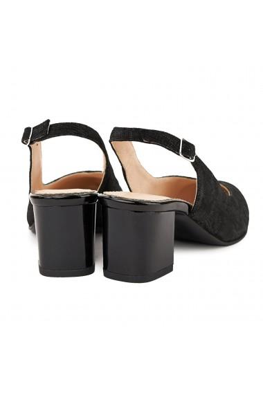 Sandale elegante din piele naturala neagra toc mic 5053