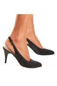 Sandale elegante din piele naturala neagra toc subtire 5037