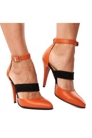Sandale elegante din piele naturala orange 5250