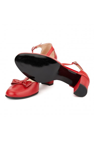 Sandale elegante din piele naturala rosie 5056