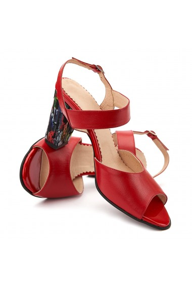 Sandale elegante din piele naturala rosie 5097