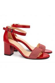 Sandale elegante din piele naturala rosie 5103