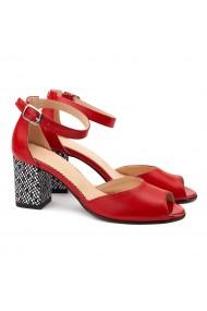 Sandale elegante din piele naturala rosie 5108