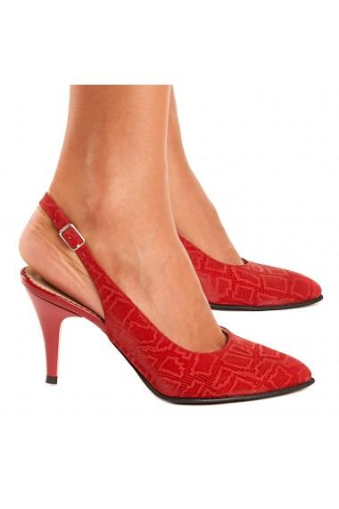 Sandale elegante din piele naturala rosie 5202