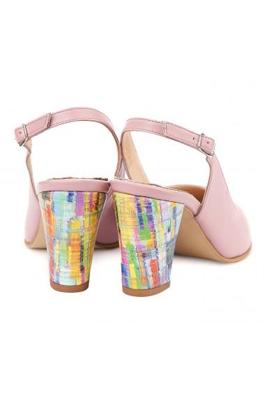 Sandale elegante din piele naturala roz 5008