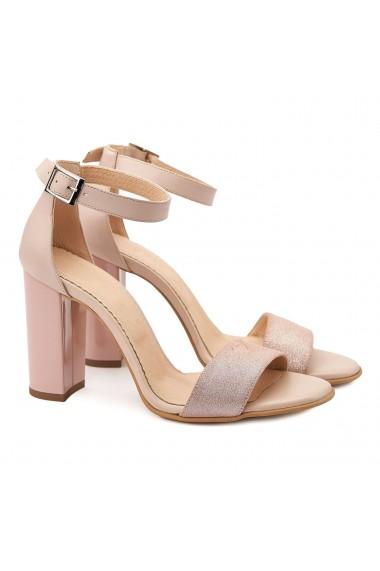 Sandale elegante din piele naturala roz prafuit 5086