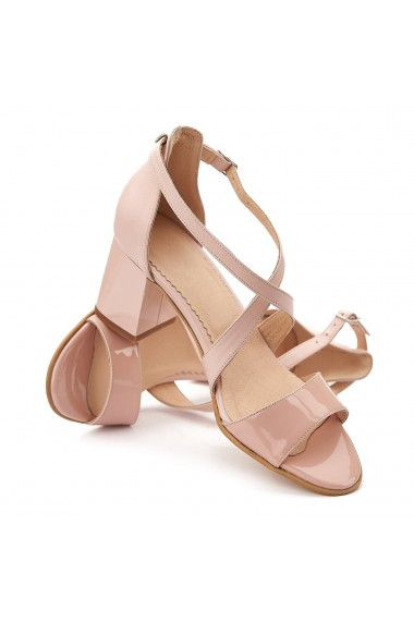 Sandale elegante din piele naturala roz prafuit 5101