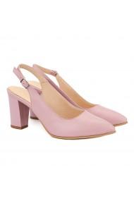 Sandale elegante din piele naturala roz pudra 5033