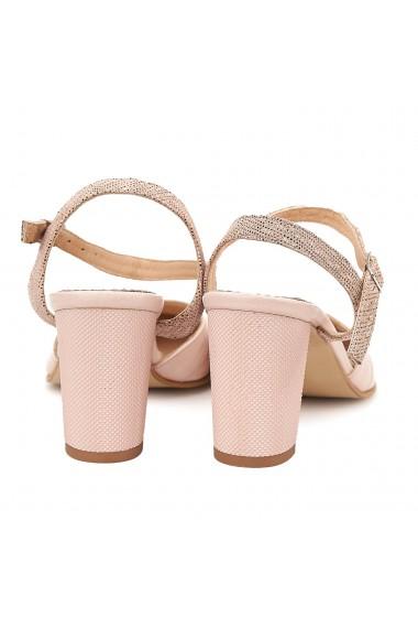 Sandale elegante din piele naturala roz pudra 5044