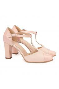 Sandale elegante din piele naturala roz pudra 5060