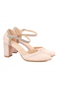 Sandale elegante din piele naturala roz pudra toc gros 5051