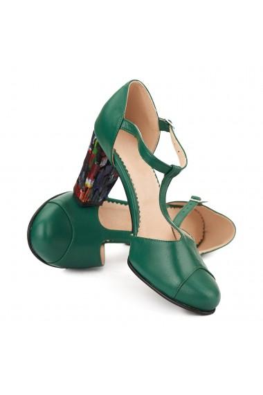 Sandale elegante din piele naturala verde toc colorat 5050