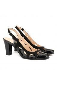 Sandale elegante din piele neagra cu toc comod 5006