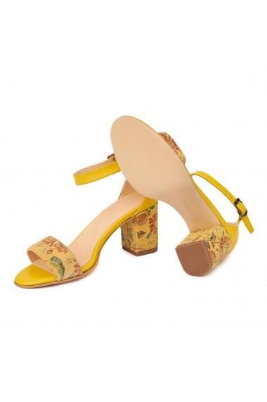 Sandale dama elegante din piele naturala galbena 5215