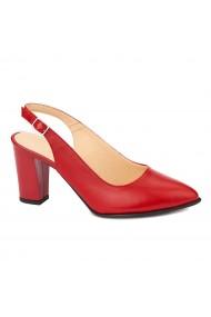 Sandale dama elegante din piele naturala rosie 5219