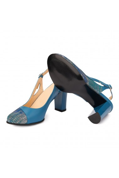 Sandale dama elegante din piele naturala Albastra 5220