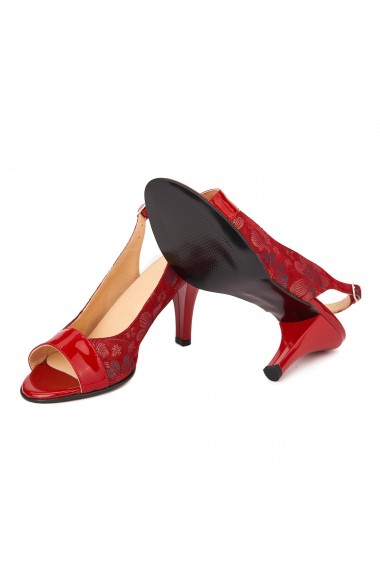 Sandale dama rosi din piele naturala cu model 5022