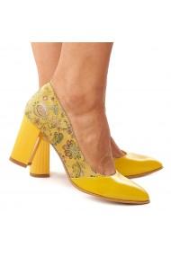 Pantofi dama din piele naturala cu toc gros 4184