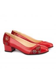 Pantofi dama din piele naturala rosie 4132