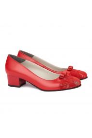 Pantofi dama din piele naturala rosie 4133