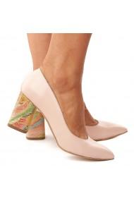 Pantofi dama din piele naturala roz toc colorat 4176