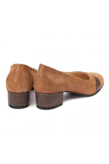 Pantofi dama toc mic din piele naturala 4374