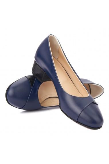Pantofi dama toc mic din piele naturala bleumarin 4353