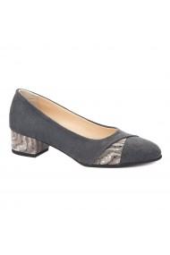 Pantofi dama toc mic din piele naturala gri 4352