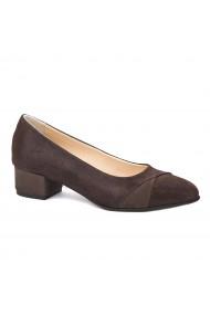 Pantofi dama toc mic din piele naturala maro 4351