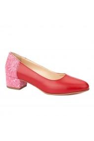 Pantofi dama toc mic din piele naturala rosie 4347