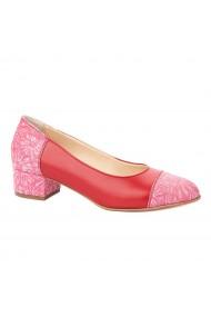 Pantofi dama toc mic din piele naturala rosie 4350