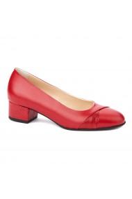 Pantofi dama toc mic din piele naturala rosie 4354